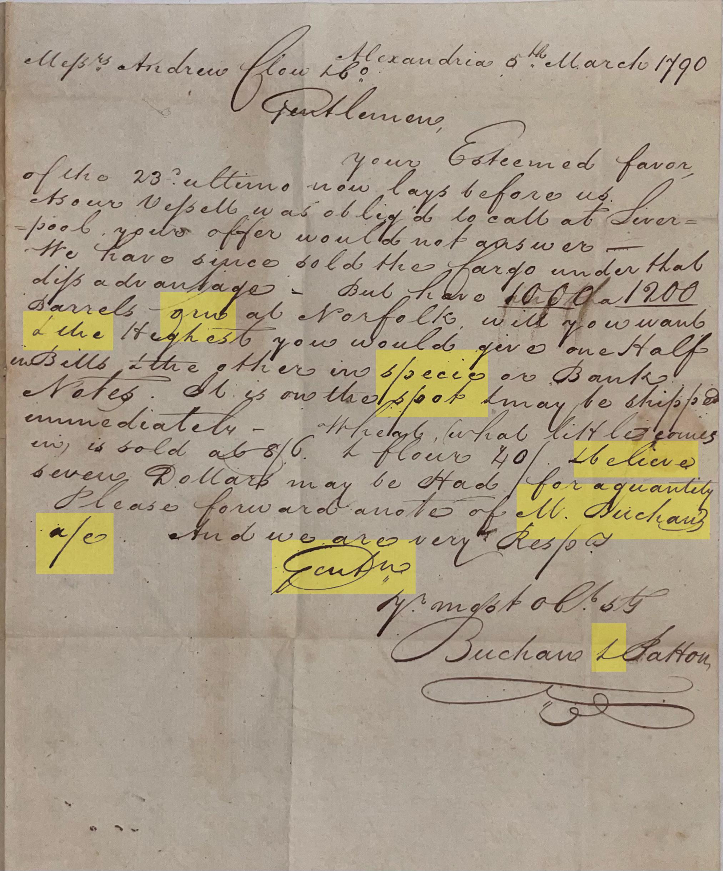 Highlighted letter