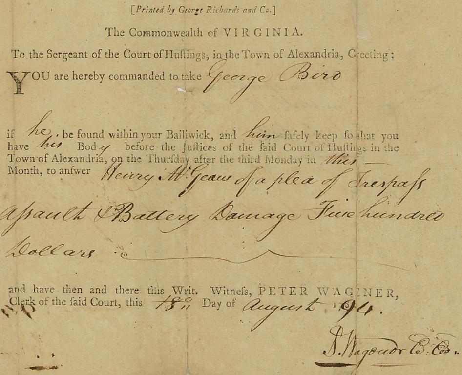 1794 arrest warrant Alexandria Court of Hustings