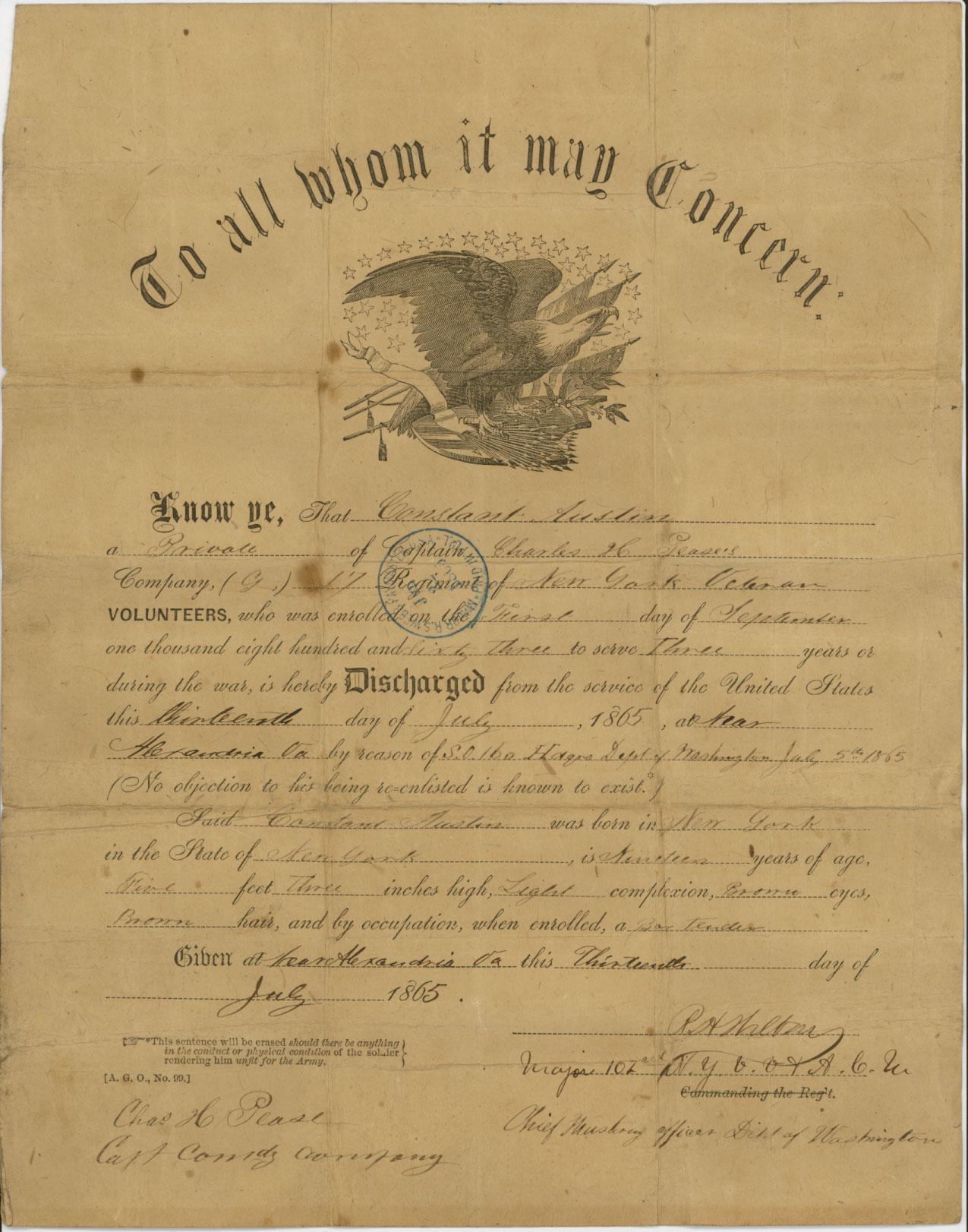 constant austin civil war discharge