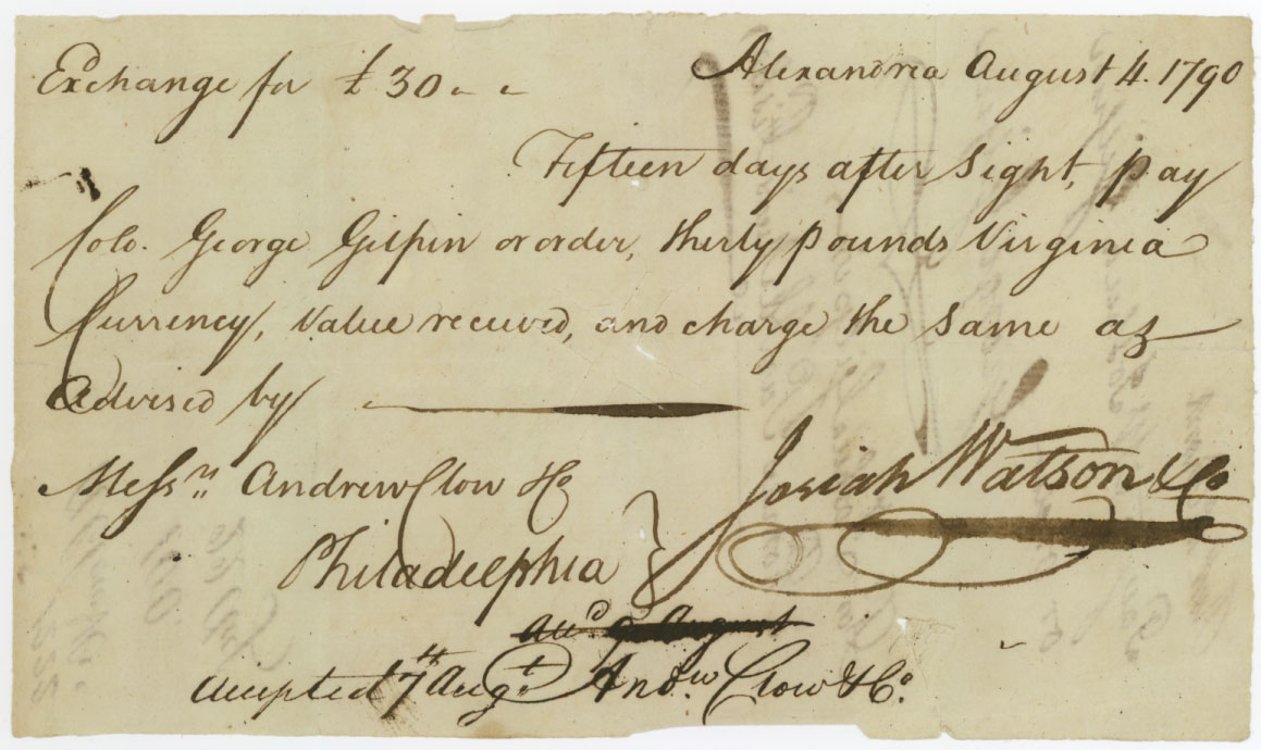 1790 check between George Gilpin and Josiah Watson