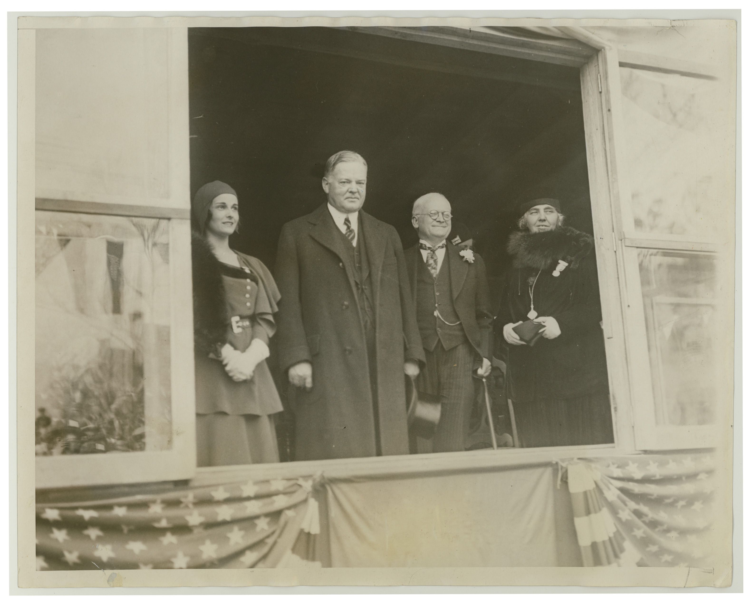 Alexandria Virginia is a town of parades here is President Hoover watching the George Washington birthday parade in 1930