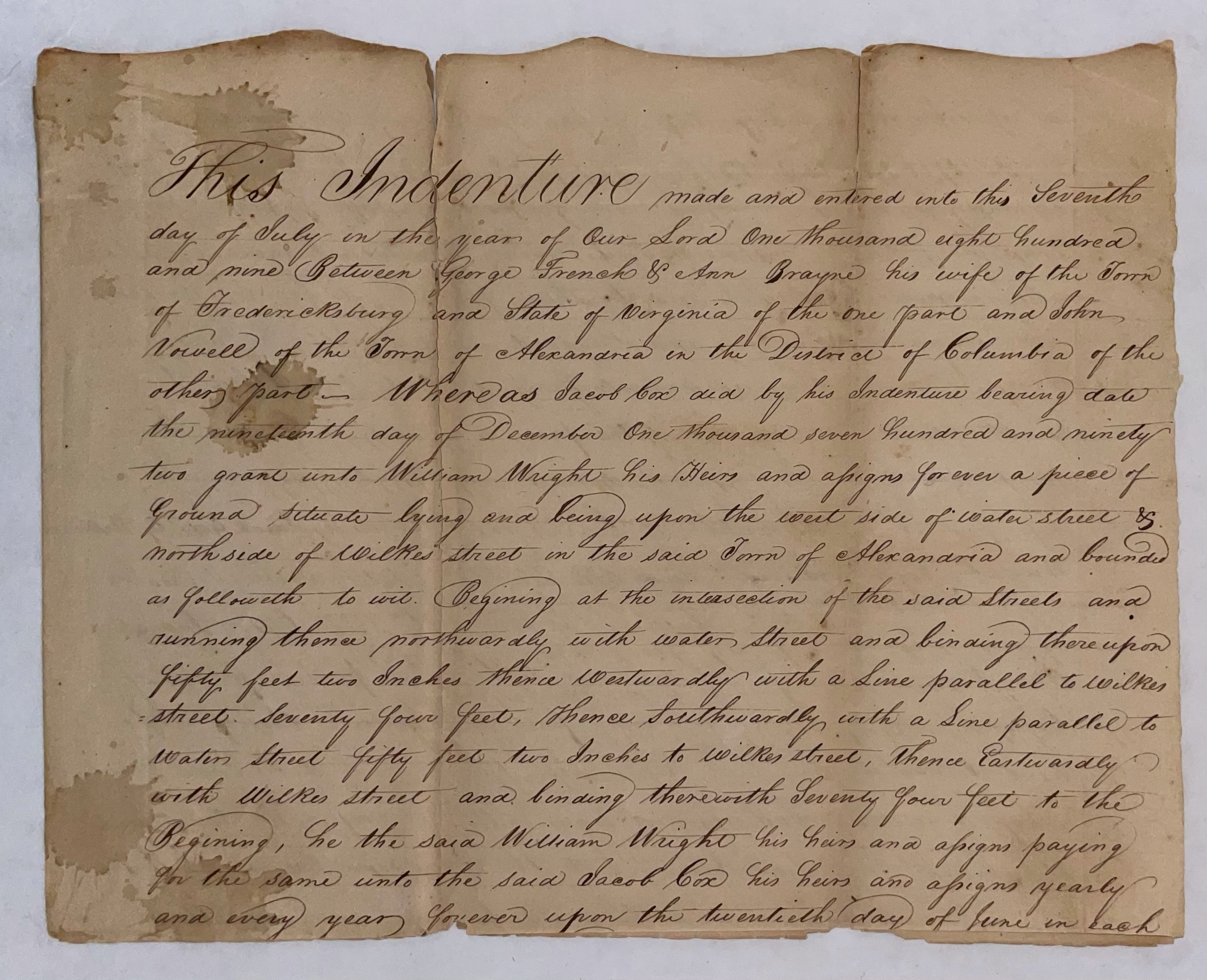 Indenture George French John Vowell
