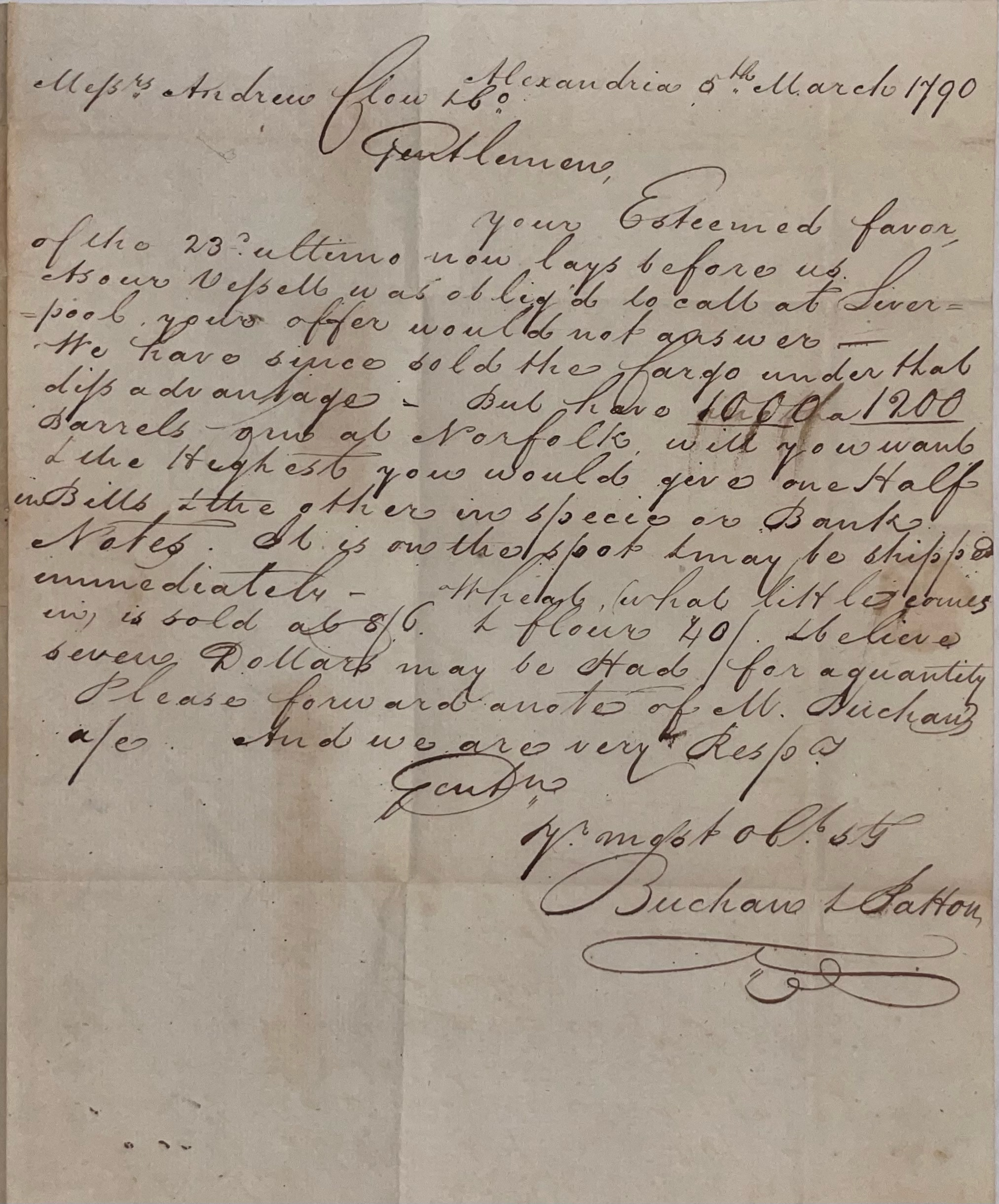 Letter from Buchan Patton in Alexandria to Andrew Clow in Philadelphia