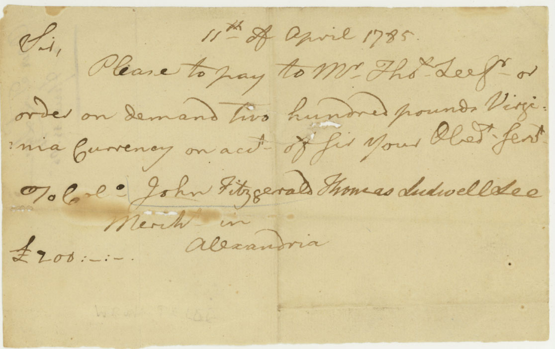 1785 check between Thomas Ludwell Lee and Colonel John Fitzgerald