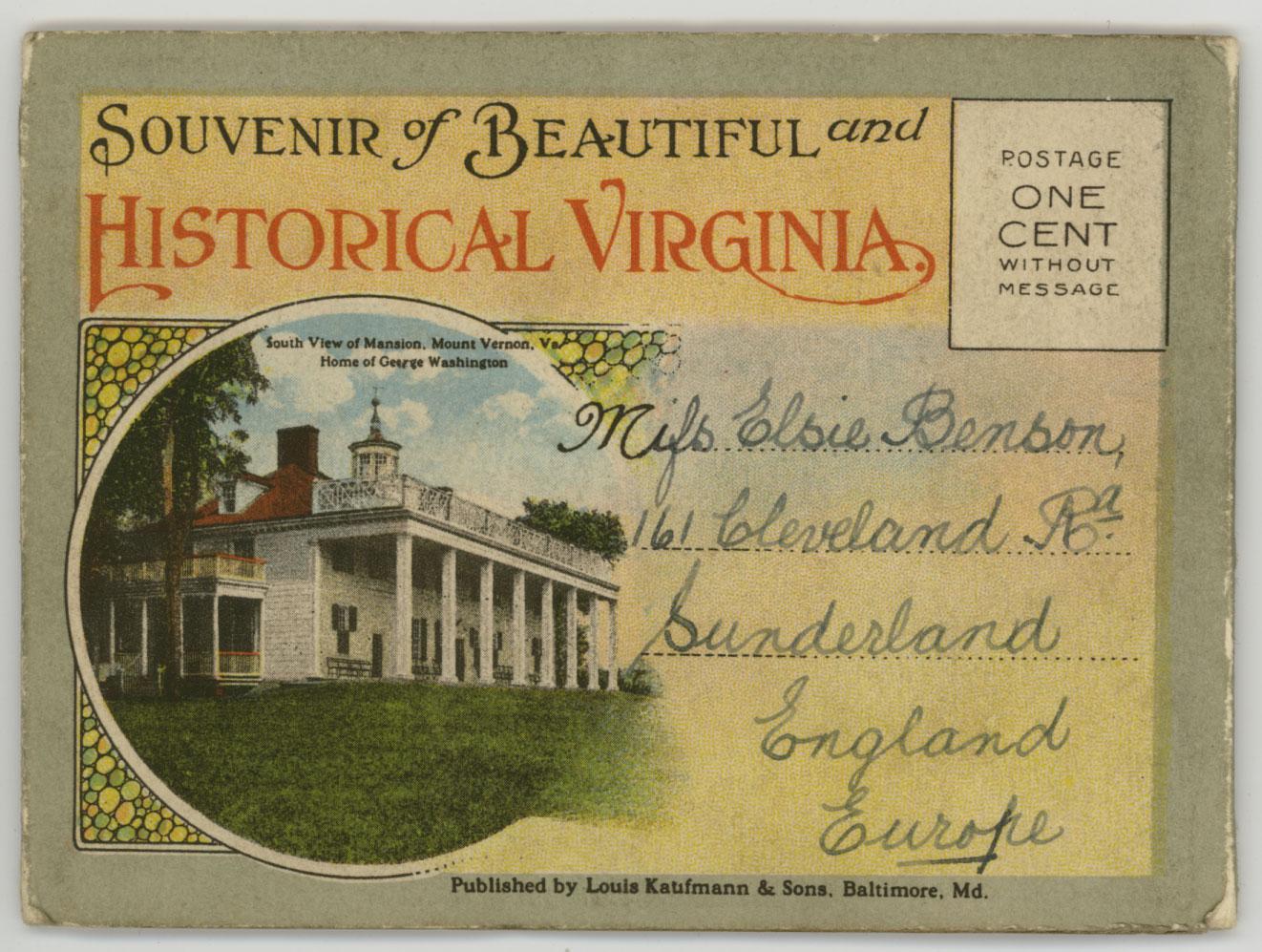 1919 Virginia souvenir postcard booklet