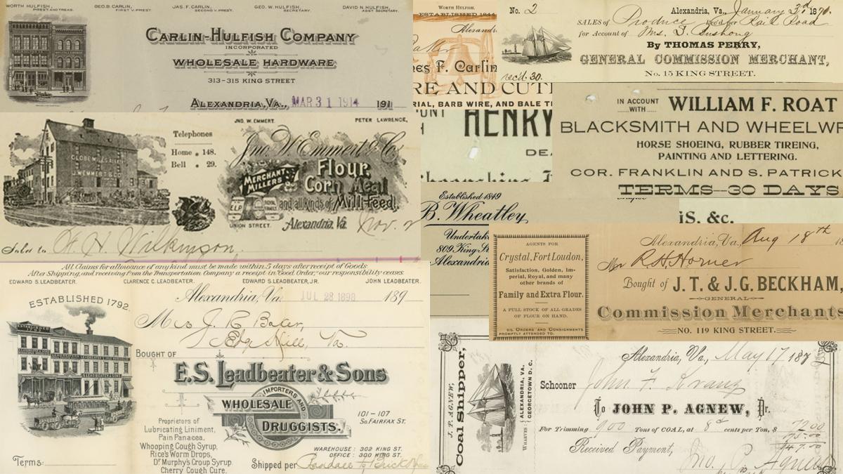 1870 1923 alexandria business receipts