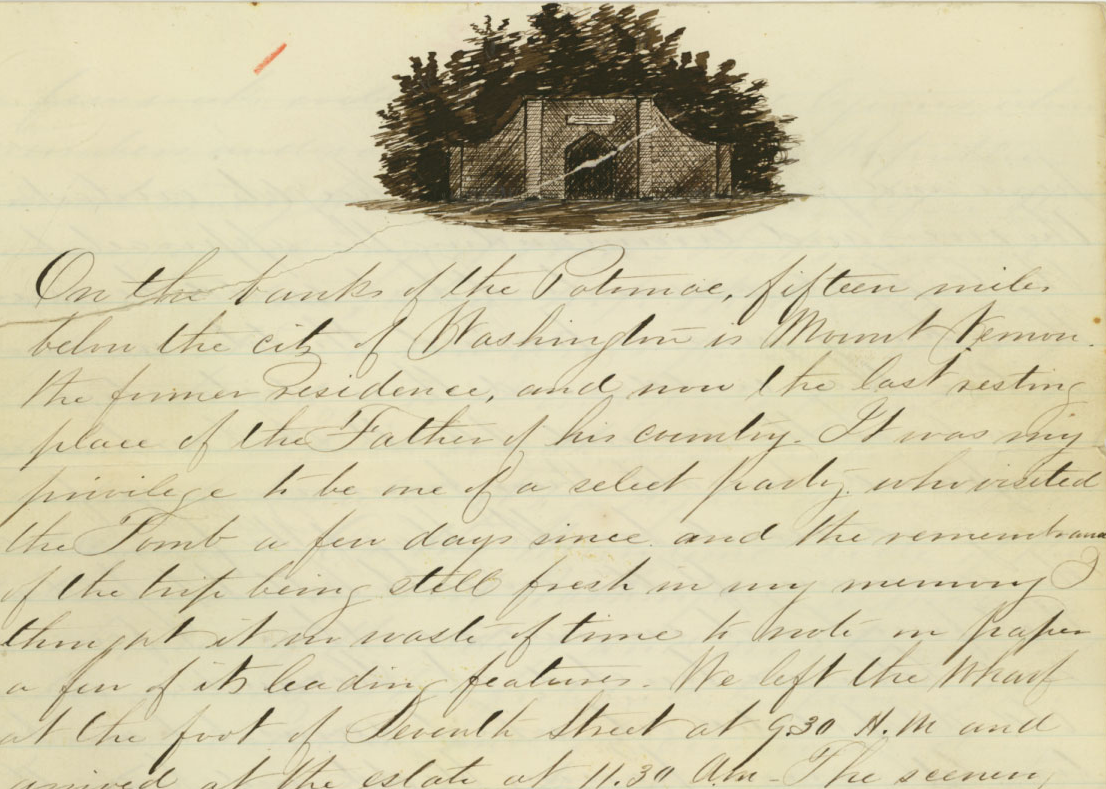 Alonzo Bell letter to Mary Lemon detailing a trip via steamship to Mount Vernon on the Potomac River