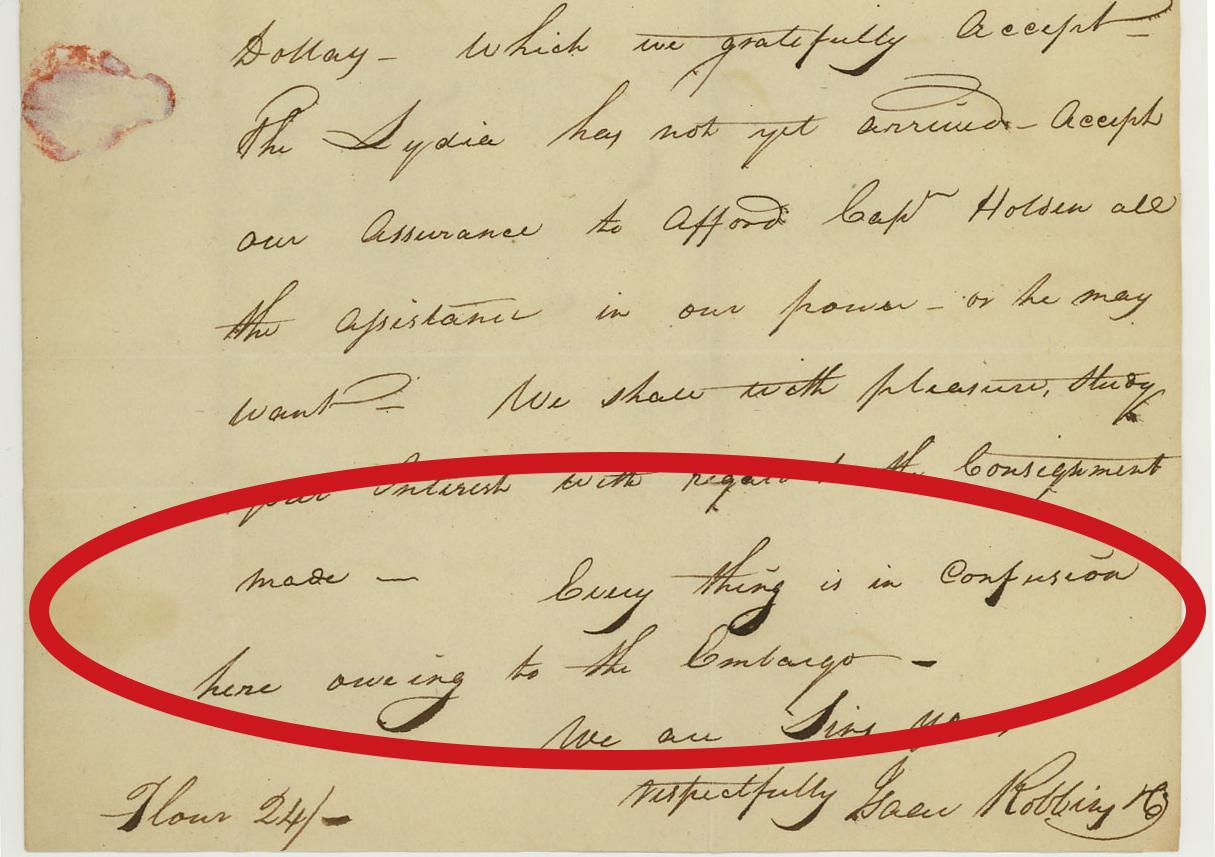 embargo act 1807 letter isaac robbins alexandria