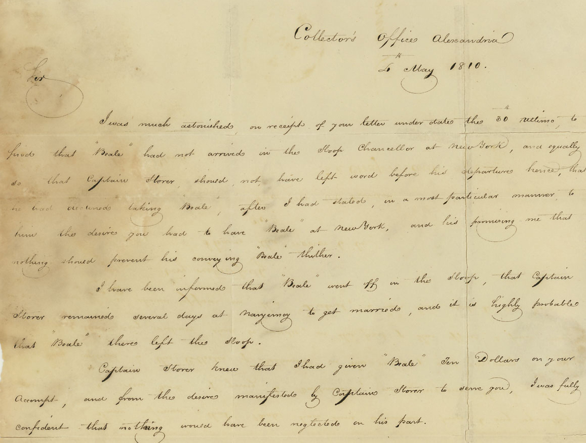 1810 letter from CT Chapman collector of customs about escaped enslaved person named Beale
